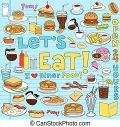 cibo, commensale, set, doodles, quaderno