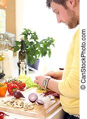 cibo, cottura, giovane, healthly