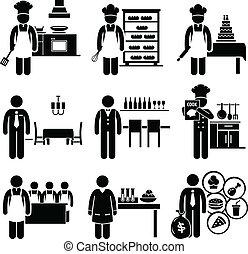 cibo, culinario, lavori, occupazioni