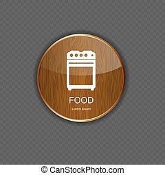 cibo, domanda, bevanda, legno, icone