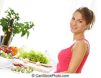 cibo, donna, cottura, giovane, healthly