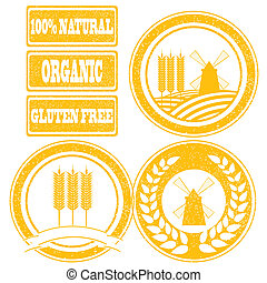 cibo, etichette, collezione, timbri gomma, grano, cereale, arancia, prodotti, intero