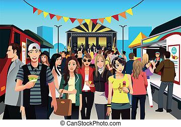 cibo, festival, persone strada