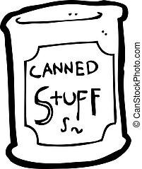cibo, inscatolato, cartone animato