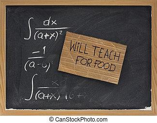 cibo, lavagna, -, segno, volontà, insegnare, cartone