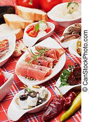 cibo, mediterraneo, antipasto