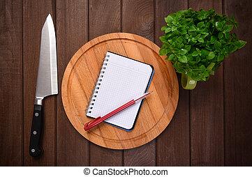 cibo, menu, concept., tagliere, fondo, assi
