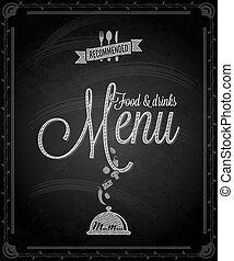 cibo, -, menu, cornice, lavagna
