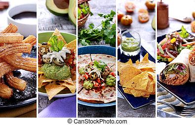 cibo messicano, su, buffet, vario, chiudere