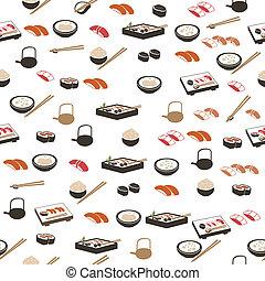 cibo, modello, giapponese, seamless