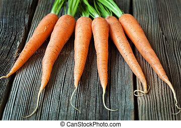 cibo organico, vegetariano, carote, rustico, legno, fondo, fresco, mazzo