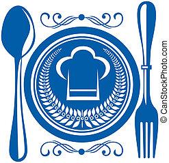cibo, piastra, gournet, coltelleria, premio