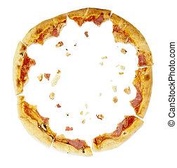 cibo, pizza, pasto, briciole, mangiato