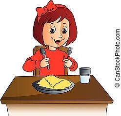 cibo, ragazza, vettore, tavola.