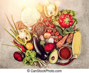 cibo sano, genuino, vegetable., fondo, concetto