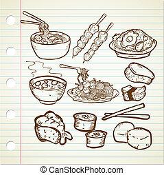 cibo, scarabocchiare, set, asiatico