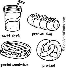 cibo, scarabocchiare, stile, bevanda, icona