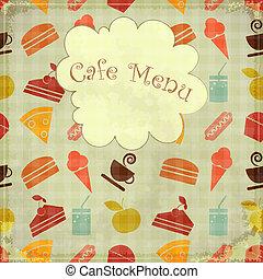 cibo, seamless, -, menu, coperchio