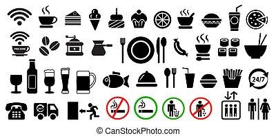 cibo, set., bevanda, vettore, icone