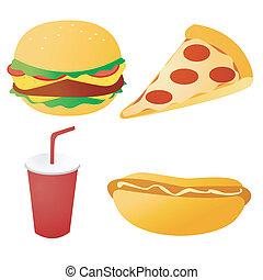cibo, set, digiuno, vettore
