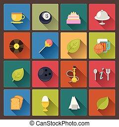 cibo, set, intrattenimento, icone