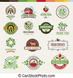 cibo, set, organico, tesserati magnetici