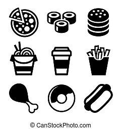 cibo, set., vettore, digiuno, icone