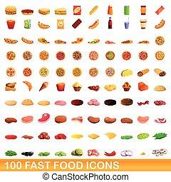 cibo, stile, digiuno, set, icone, cartone animato, 100