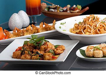 cibo, tailandese, assortimento
