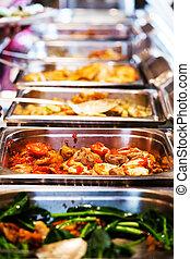 cibo, tailandia, buffet.