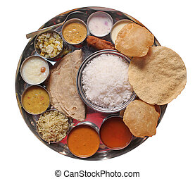 cibo, tradizionale, indiano, pasti, pranzo