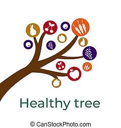 cibo, tuo, disegno, schizzo, sano, albero