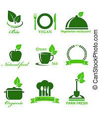 cibo, vegetariano, set, icone
