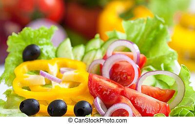 cibo, verdura, fresco, insalata, sano