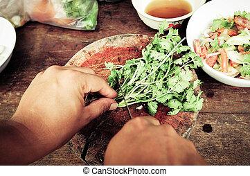 cibo, verdura, taglio, yummy
