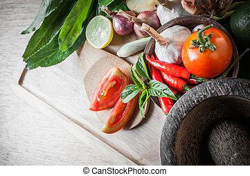 cibo, verdura, tom, yum, elemento