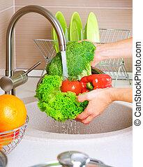 cibo, verdure fresche, washing., sano