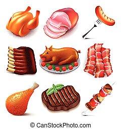 cibo, vettore, set, carne, icone