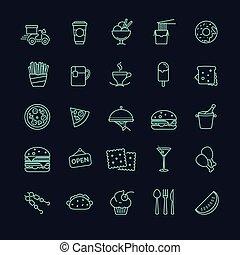 cibo, vettore, set, digiuno, icone