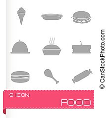 cibo, vettore, set, icone