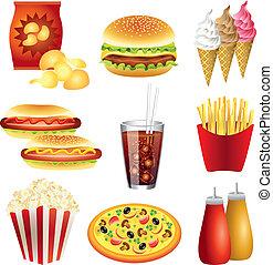 cibo, vettore, set, pasti, digiuno
