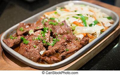 cibo, yakiniku, giapponese, manzo, barbecue