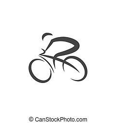 ciclismo, vettore, illustrazione, logotipo, disegno, icona