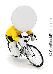 ciclista, bianco, 3d, da corsa, persone