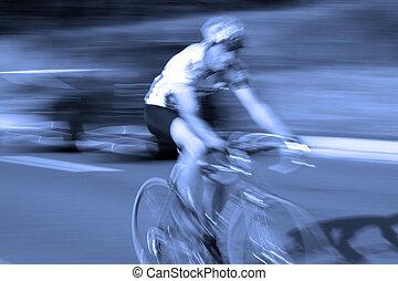 ciclista, bicicletta, ast, movimento, corsa, offuscamento, strada