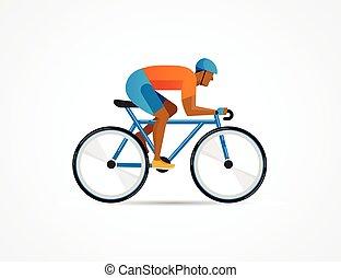 ciclista, manifesto, bicicletta, illustrazione, vettore, sentiero per cavalcate