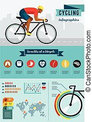 ciclista, set, manifesto, bicicletta, infographics, vettore, sentiero per cavalcate, icona