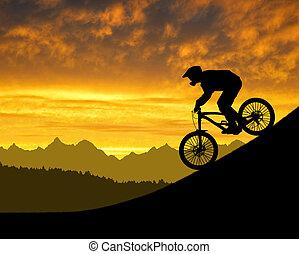 ciclista, silhouette