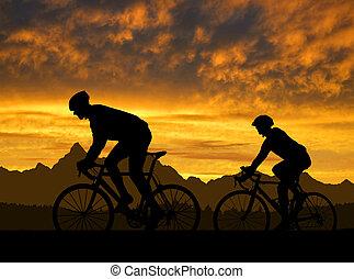ciclisti, silhouette
