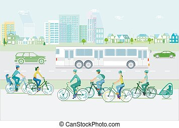 ciclisti, traffic-.eps, cityscape, strada